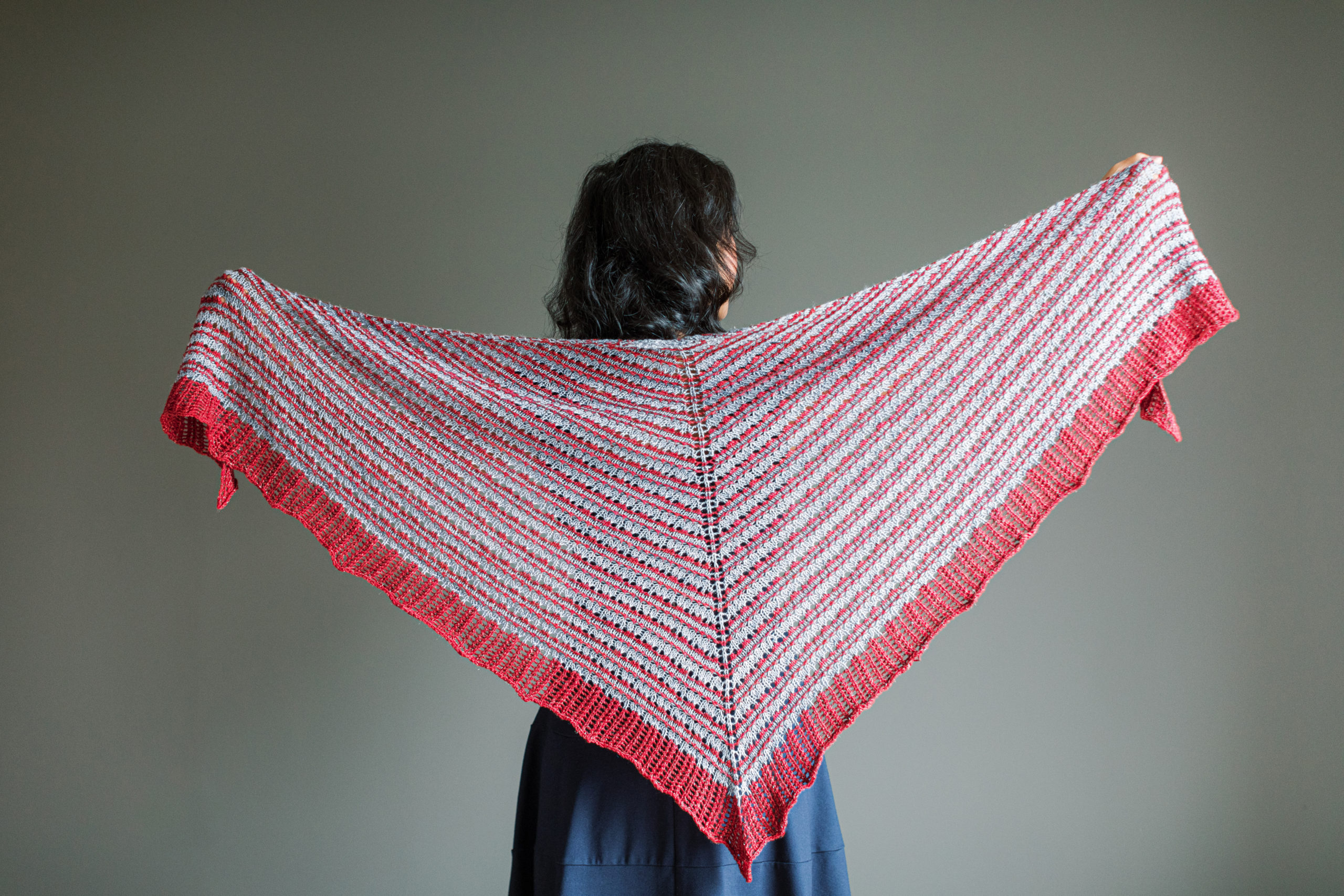 Holidays with SweetGeorgia 2020, Seward Shawl by Tabetha Hedrick, knit in SweetGeorgia Tough Love Sock and CashLuxe Spark
