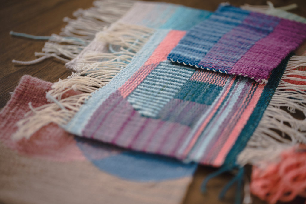 Tapestry weavings by Janna Maria Vallee woven in Everlea Yarns for the School of SweetGeorgia