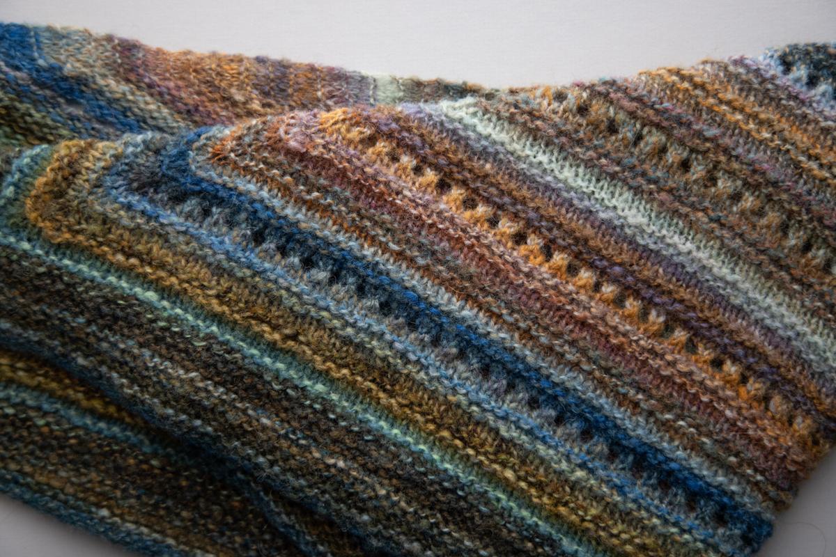 Spinning Sheep Breed blue orange Dorset lace garter shawl handspun skein