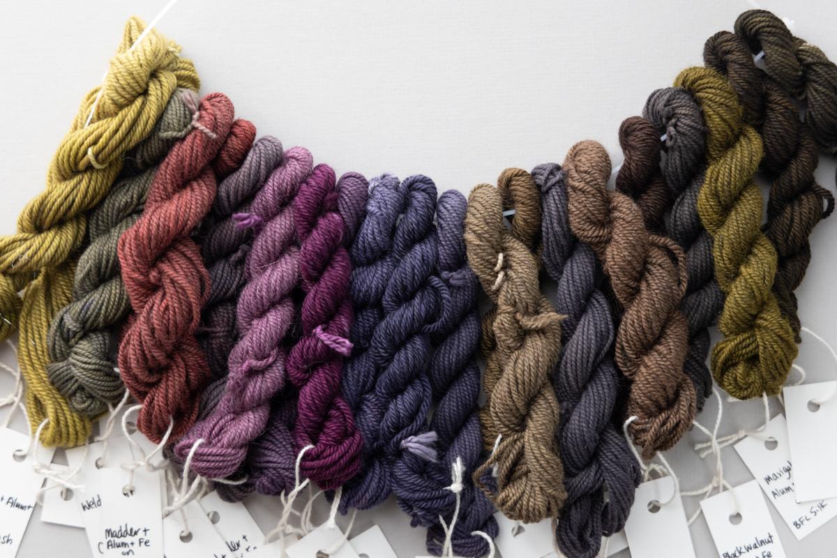 Natural Dyeing basics NDB hanging yarn skeins